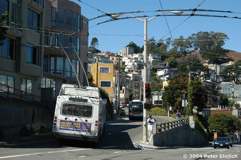 (188k, 792x526)<br><b>Country:</b> United States<br><b>City:</b> San Francisco/Bay Area, CA<br><b>System:</b> SF MUNI<br><b>Line:</b> SF MUNI Trolley Coach Routes<br><b>Car:</b> SF MUNI Trolley Coach (ETI 14Tr-SF 40ft., 2001-03) 5417 <br><b>Photo by:</b> Peter Ehrlich<br><b>Date:</b> 9/26/2004<br><b>Notes:</b> Clayton/Market, trailing view, with Flyer 5093 heading opposite direction. Line 33-Stanyan.<br><b>Viewed (this week/total):</b> 0 / 1499