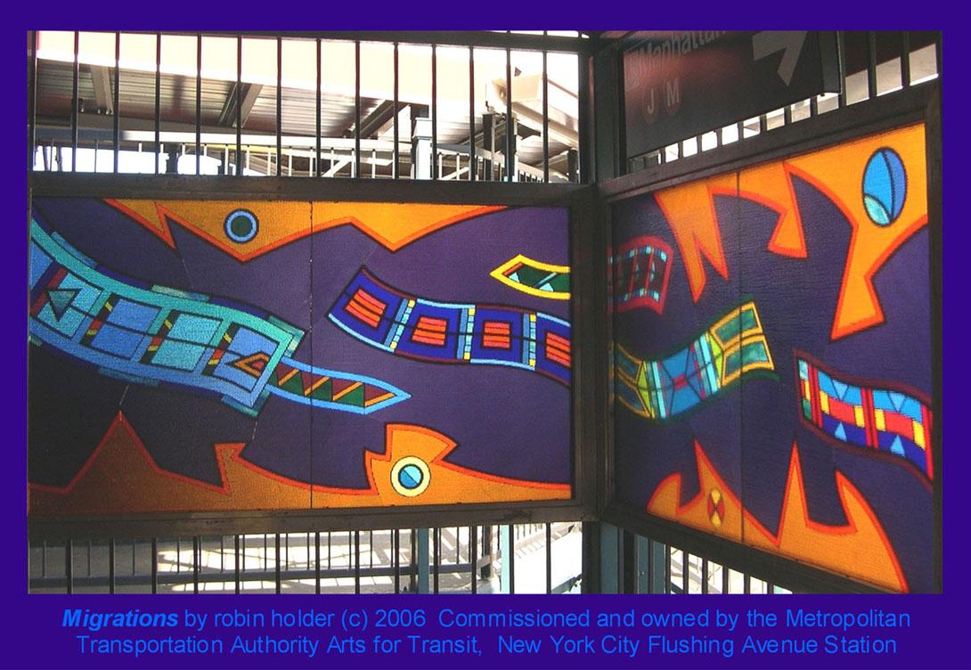 (210k, 1090x752)<br><b>Country:</b> United States<br><b>City:</b> New York<br><b>System:</b> New York City Transit<br><b>Line:</b> BMT Nassau Street/Jamaica Line<br><b>Location:</b> Flushing Avenue <br><b>Photo by:</b> Seth Morgan<br><b>Date:</b> 2006<br><b>Artwork:</b> <i>Migrations</i>, Robin Holder.<br><b>Notes:</b> <i>Migrations</i> panels 24 and 23. Photo by the artist.<br><b>Viewed (this week/total):</b> 0 / 1782