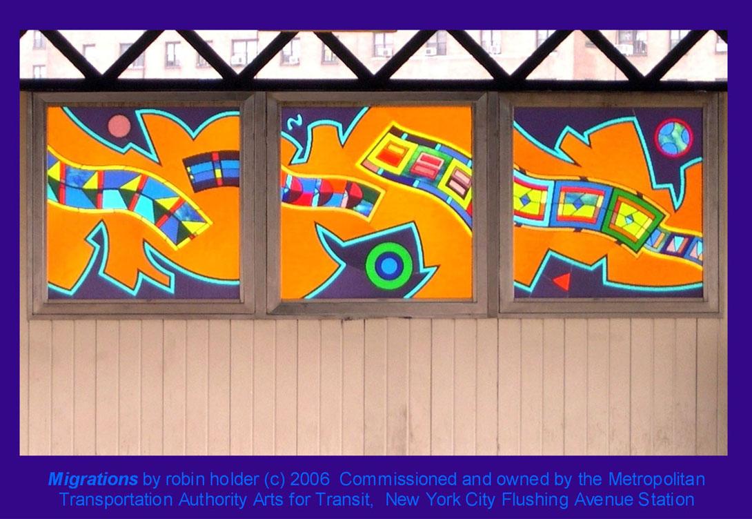 (188k, 1090x752)<br><b>Country:</b> United States<br><b>City:</b> New York<br><b>System:</b> New York City Transit<br><b>Line:</b> BMT Nassau Street/Jamaica Line<br><b>Location:</b> Flushing Avenue <br><b>Photo by:</b> Robin Holder<br><b>Date:</b> 2006<br><b>Artwork:</b> <i>Migrations</i>, Robin Holder.<br><b>Notes:</b> <i>Migrations</i> panels 11, 12 and 13. Photo by the artist.<br><b>Viewed (this week/total):</b> 6 / 2021