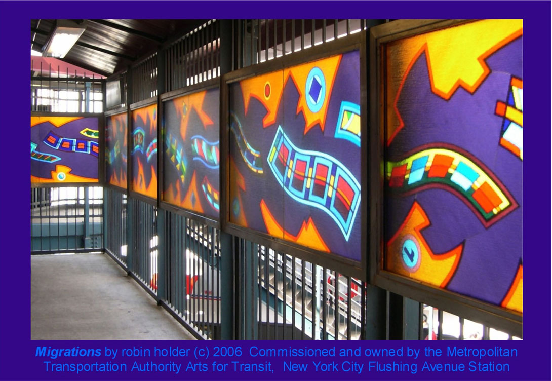 (201k, 1090x752)<br><b>Country:</b> United States<br><b>City:</b> New York<br><b>System:</b> New York City Transit<br><b>Line:</b> BMT Nassau Street/Jamaica Line<br><b>Location:</b> Flushing Avenue <br><b>Photo by:</b> Robin Holder<br><b>Date:</b> 2006<br><b>Artwork:</b> <i>Migrations</i>, Robin Holder.<br><b>Notes:</b> <i>Migrations</i> panels 24, 23, 22, 21, 20, and 19. Photo by the artist.<br><b>Viewed (this week/total):</b> 4 / 1826