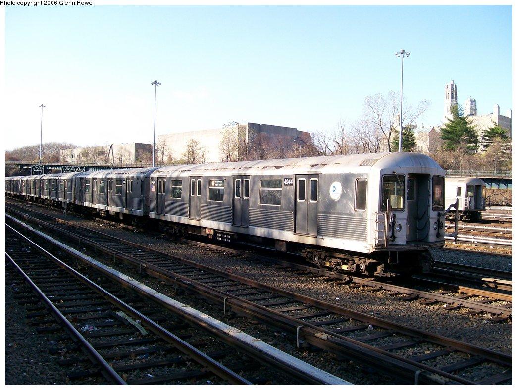 (193k, 1044x788)<br><b>Country:</b> United States<br><b>City:</b> New York<br><b>System:</b> New York City Transit<br><b>Location:</b> Concourse Yard<br><b>Car:</b> R-42 (St. Louis, 1969-1970)  4944 <br><b>Photo by:</b> Glenn L. Rowe<br><b>Date:</b> 12/4/2006<br><b>Viewed (this week/total):</b> 3 / 2707