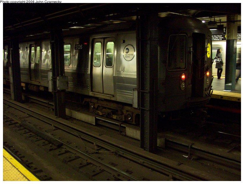 (98k, 820x619)<br><b>Country:</b> United States<br><b>City:</b> New York<br><b>System:</b> New York City Transit<br><b>Line:</b> BMT Broadway Line<br><b>Location:</b> Times Square/42nd Street <br><b>Route:</b> Q<br><b>Car:</b> R-68A (Kawasaki, 1988-1989)  5126 <br><b>Photo by:</b> John Czarnecky<br><b>Date:</b> 11/7/2006<br><b>Viewed (this week/total):</b> 2 / 4298
