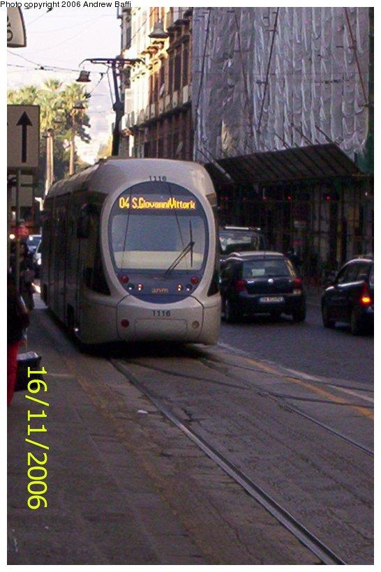 (90k, 546x820)<br><b>Country:</b> Italy<br><b>City:</b> Naples<br><b>System:</b> Napoli ATAN<br><b>Car:</b> Naples Tram 1116 <br><b>Photo by:</b> Andrew Baffi<br><b>Date:</b> 11/16/2006<br><b>Viewed (this week/total):</b> 2 / 1302