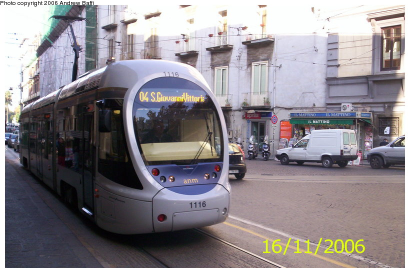 (115k, 820x546)<br><b>Country:</b> Italy<br><b>City:</b> Naples<br><b>System:</b> Napoli ATAN<br><b>Car:</b> Naples Tram 1116 <br><b>Photo by:</b> Andrew Baffi<br><b>Date:</b> 11/16/2006<br><b>Viewed (this week/total):</b> 0 / 1558
