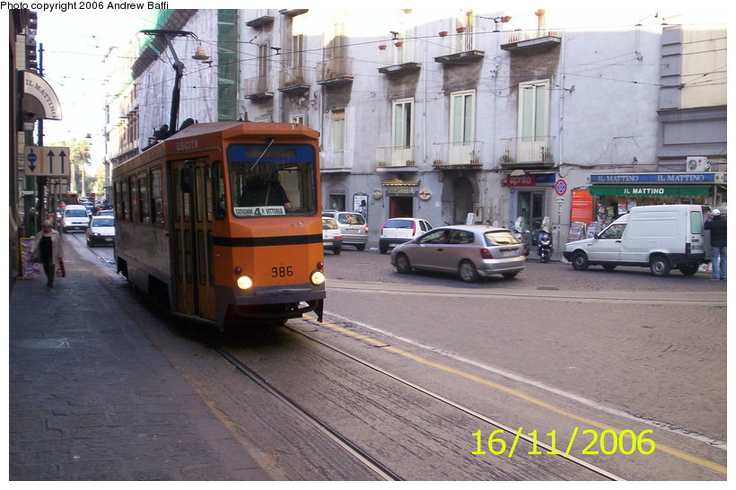 (121k, 820x546)<br><b>Country:</b> Italy<br><b>City:</b> Naples<br><b>System:</b> Napoli ATAN<br><b>Car:</b> Naples Tram 986 <br><b>Photo by:</b> Andrew Baffi<br><b>Date:</b> 11/16/2006<br><b>Viewed (this week/total):</b> 2 / 1208