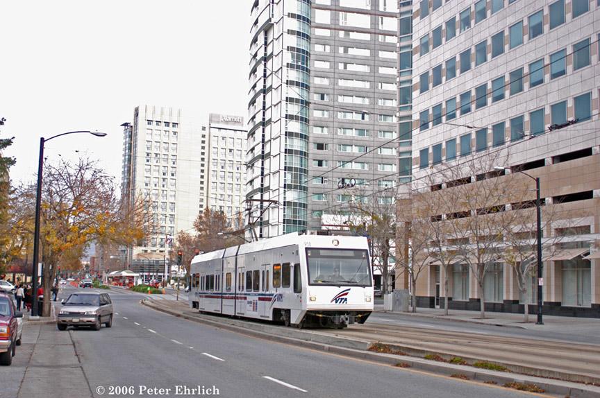 (234k, 864x574)<br><b>Country:</b> United States<br><b>City:</b> San Jose, CA<br><b>System:</b> Santa Clara VTA<br><b>Line:</b> VTA 1st St/Downtown/St. Teresa<br><b>Location:</b> San Carlos/Almaden e. of Vasona Jct. <br><b>Car:</b> VTA Kinki-Sharyo 950 <br><b>Photo by:</b> Peter Ehrlich<br><b>Date:</b> 12/16/2006<br><b>Notes:</b> San Carlos/Almaden outbound.<br><b>Viewed (this week/total):</b> 1 / 1050