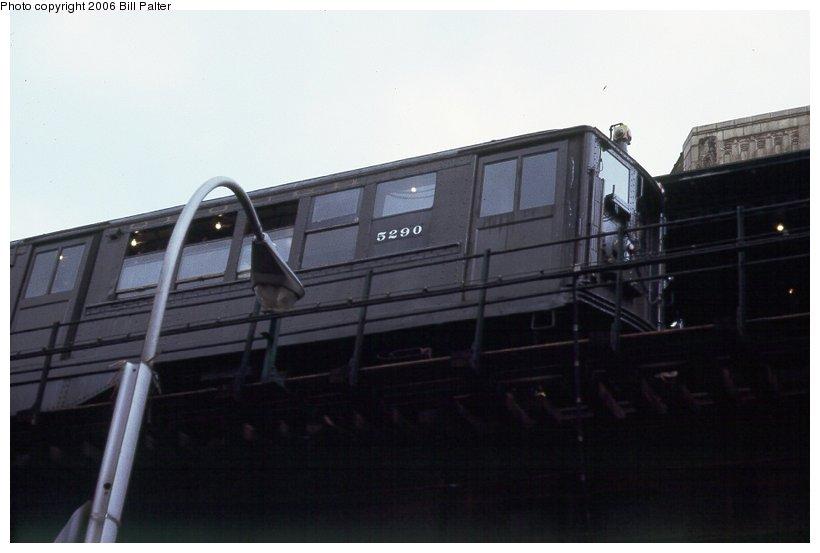 (53k, 820x553)<br><b>Country:</b> United States<br><b>City:</b> New York<br><b>System:</b> New York City Transit<br><b>Line:</b> 3rd Avenue El<br><b>Location:</b> 149th Street <br><b>Car:</b> Low-V (Museum Train) 5290 <br><b>Photo by:</b> Kenneth Palter<br><b>Collection of:</b> Bill Palter<br><b>Date:</b> 5/1973<br><b>Notes:</b> 149th & Willis Ave.<br><b>Viewed (this week/total):</b> 0 / 1753