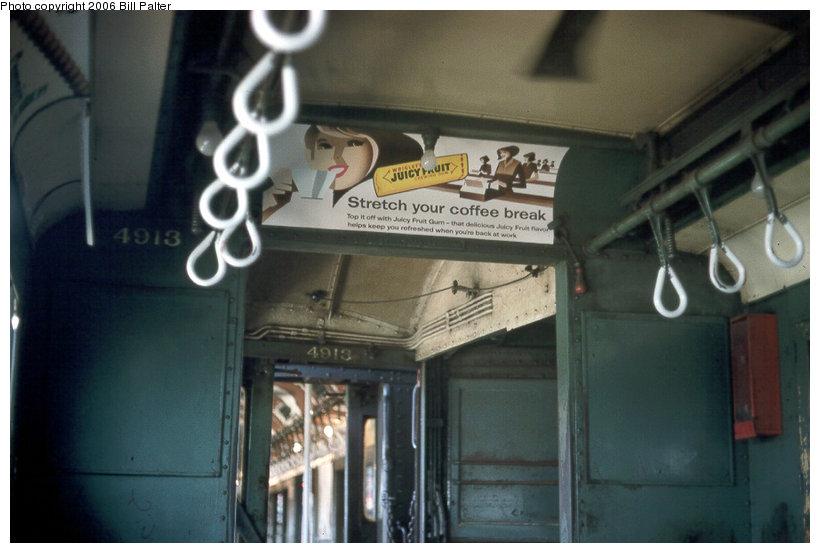 (91k, 820x553)<br><b>Country:</b> United States<br><b>City:</b> New York<br><b>System:</b> New York City Transit<br><b>Line:</b> 3rd Avenue El<br><b>Car:</b> Low-V 4913 <br><b>Photo by:</b> Kenneth Palter<br><b>Collection of:</b> Bill Palter<br><b>Date:</b> 1969<br><b>Viewed (this week/total):</b> 0 / 1963