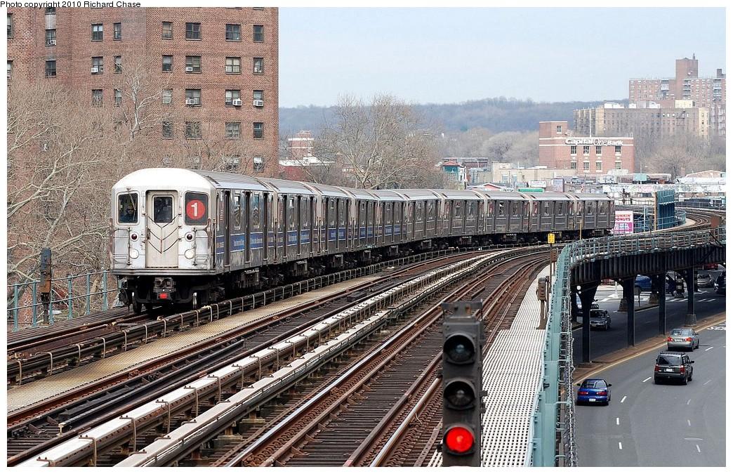 (304k, 1044x675)<br><b>Country:</b> United States<br><b>City:</b> New York<br><b>System:</b> New York City Transit<br><b>Line:</b> IRT West Side Line<br><b>Location:</b> 225th Street <br><b>Route:</b> 1<br><b>Car:</b> R-62A (Bombardier, 1984-1987)   <br><b>Photo by:</b> Richard Chase<br><b>Date:</b> 3/25/2010<br><b>Viewed (this week/total):</b> 1 / 1069