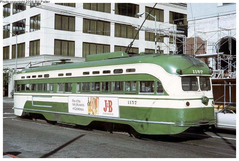 (129k, 820x553)<br><b>Country:</b> United States<br><b>City:</b> San Francisco/Bay Area, CA<br><b>System:</b> SF MUNI<br><b>Location:</b> Fremont/Mission <br><b>Car:</b> SF MUNI PCC St. Louis (St. Louis Car Co, 1946)  1157 <br><b>Photo by:</b> Kenneth Palter<br><b>Collection of:</b> Bill Palter<br><b>Date:</b> 12/1973<br><b>Viewed (this week/total):</b> 3 / 1034