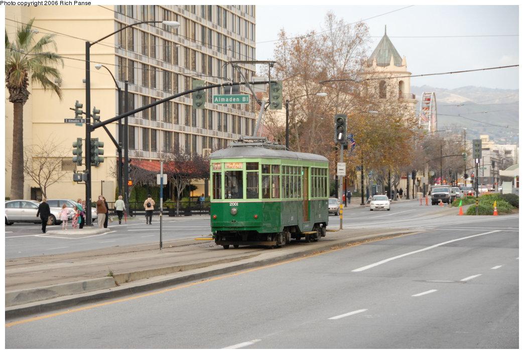 (197k, 1044x705)<br><b>Country:</b> United States<br><b>City:</b> San Jose, CA<br><b>System:</b> Santa Clara VTA<br><b>Line:</b> VTA 1st St/Downtown/St. Teresa<br><b>Location:</b> San Carlos/Almaden e. of Vasona Jct. <br><b>Car:</b> Milan Milano/Peter Witt (1927-1930)  2001 <br><b>Photo by:</b> Richard Panse<br><b>Date:</b> 12/16/2006<br><b>Viewed (this week/total):</b> 0 / 1269