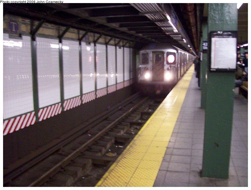 (101k, 820x619)<br><b>Country:</b> United States<br><b>City:</b> New York<br><b>System:</b> New York City Transit<br><b>Line:</b> IRT West Side Line<br><b>Location:</b> Times Square/42nd Street <br><b>Route:</b> 1<br><b>Car:</b> R-62A (Bombardier, 1984-1987)   <br><b>Photo by:</b> John Czarnecky<br><b>Date:</b> 12/18/2006<br><b>Viewed (this week/total):</b> 6 / 4428
