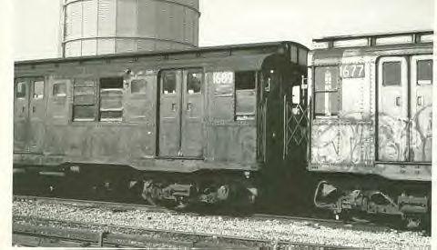 (29k, 480x275)<br><b>Country:</b> United States<br><b>City:</b> New York<br><b>System:</b> New York City Transit<br><b>Location:</b> Coney Island Yard<br><b>Car:</b> R-9 (American Car & Foundry, 1940)  1689 <br><b>Collection of:</b> Vic Gordon<br><b>Notes:</b> With 1677.<br><b>Viewed (this week/total):</b> 0 / 2518