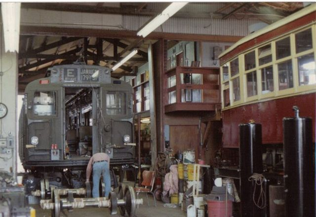 (52k, 640x439)<br><b>Country:</b> United States<br><b>City:</b> East Haven/Branford, Ct.<br><b>System:</b> Shore Line Trolley Museum <br><b>Car:</b> R-9 (American Car & Foundry, 1940)  1689 <br><b>Collection of:</b> Vic Gordon<br><b>Date:</b> 2005<br><b>Notes:</b> R9 1689 in the shop at Shore Line.<br><b>Viewed (this week/total):</b> 0 / 1630