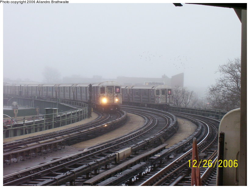 (106k, 820x620)<br><b>Country:</b> United States<br><b>City:</b> New York<br><b>System:</b> New York City Transit<br><b>Line:</b> IRT Flushing Line<br><b>Location:</b> 46th Street/Bliss Street <br><b>Route:</b> 7<br><b>Car:</b> R-62A (Bombardier, 1984-1987)  1741 <br><b>Photo by:</b> Aliandro Brathwaite<br><b>Date:</b> 12/26/2006<br><b>Viewed (this week/total):</b> 2 / 2682