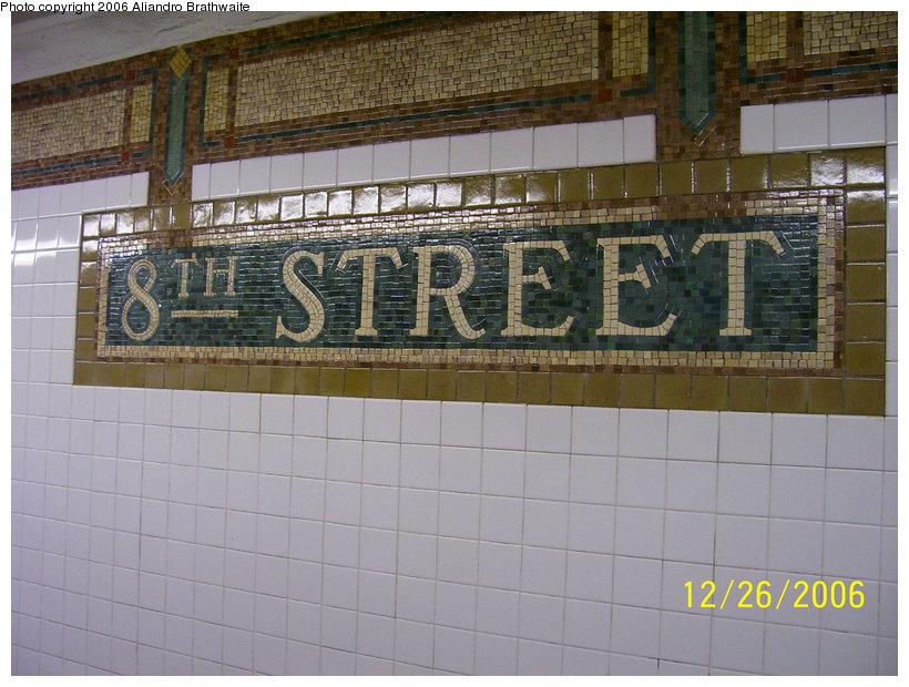 (127k, 820x620)<br><b>Country:</b> United States<br><b>City:</b> New York<br><b>System:</b> New York City Transit<br><b>Line:</b> BMT Broadway Line<br><b>Location:</b> 8th Street <br><b>Photo by:</b> Aliandro Brathwaite<br><b>Date:</b> 12/26/2006<br><b>Viewed (this week/total):</b> 0 / 1581