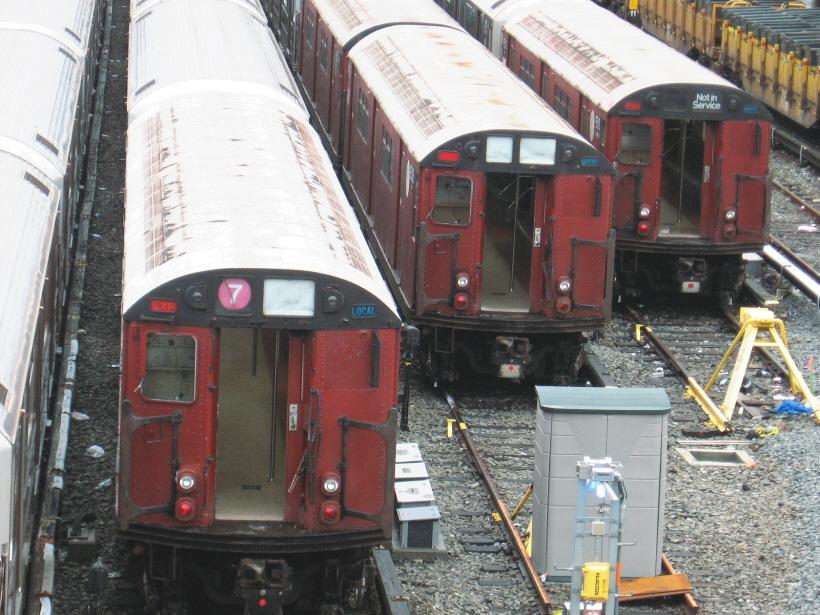 (359k, 820x615)<br><b>Country:</b> United States<br><b>City:</b> New York<br><b>System:</b> New York City Transit<br><b>Location:</b> Corona Yard<br><b>Car:</b> R-33 World's Fair (St. Louis, 1963-64) 9309/9308/9310 <br><b>Photo by:</b> Gary Chatterton<br><b>Date:</b> 12/23/2006<br><b>Viewed (this week/total):</b> 4 / 1928
