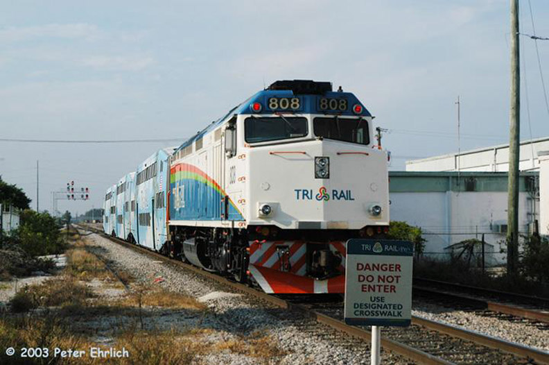 (148k, 792x526)<br><b>Country:</b> United States<br><b>City:</b> Miami, FL<br><b>System:</b> Miami Tri-Rail<br><b>Location:</b> Metrorail Transfer (Metrorail, Amtrak) <br><b>Car:</b>  808 <br><b>Photo by:</b> Peter Ehrlich<br><b>Date:</b> 4/25/2003<br><b>Viewed (this week/total):</b> 0 / 2743