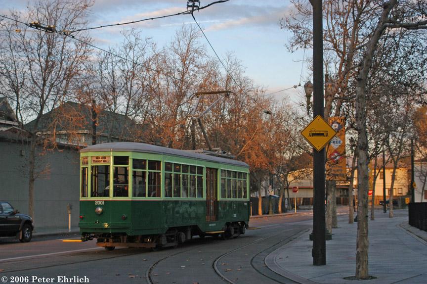 (245k, 864x574)<br><b>Country:</b> United States<br><b>City:</b> San Jose, CA<br><b>System:</b> Santa Clara VTA<br><b>Line:</b> VTA 1st St/Downtown/St. Teresa<br><b>Location:</b> N. 1st & Devine <br><b>Car:</b> Milan Milano/Peter Witt (1927-1930)  2001 <br><b>Photo by:</b> Peter Ehrlich<br><b>Date:</b> 12/23/2006<br><b>Notes:</b> Devine/N. 1st Street inboud, trailing view.<br><b>Viewed (this week/total):</b> 0 / 1077