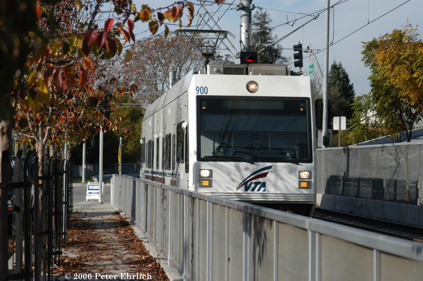 (219k, 864x574)<br><b>Country:</b> United States<br><b>City:</b> San Jose, CA<br><b>System:</b> Santa Clara VTA<br><b>Line:</b> VTA Vasona Line<br><b>Location:</b> Along Delmas Street <br><b>Car:</b> VTA Kinki-Sharyo 900 <br><b>Photo by:</b> Peter Ehrlich<br><b>Date:</b> 12/23/2006<br><b>Notes:</b> Delmas/Park inbound.<br><b>Viewed (this week/total):</b> 0 / 972