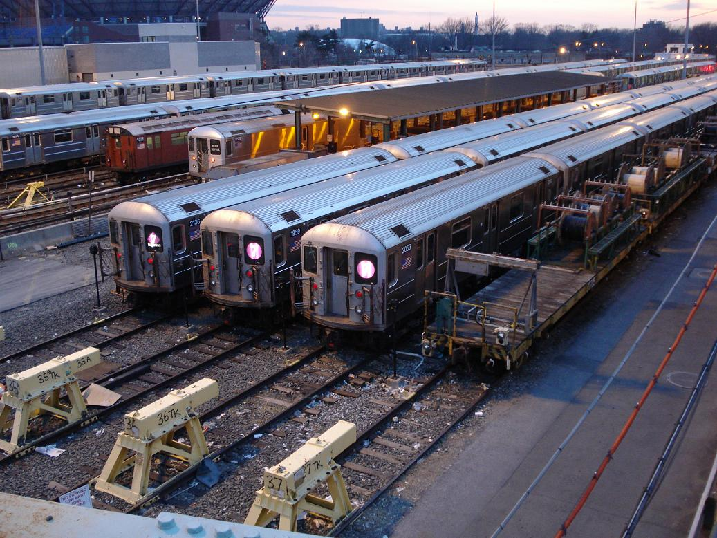 (190k, 1037x778)<br><b>Country:</b> United States<br><b>City:</b> New York<br><b>System:</b> New York City Transit<br><b>Location:</b> Corona Yard<br><b>Car:</b> R-62A (Bombardier, 1984-1987)  2063 <br><b>Photo by:</b> Michael Hodurski<br><b>Date:</b> 12/29/2006<br><b>Notes:</b> With R33WF 9308, R134 EP012, R62A 2136, 1959.<br><b>Viewed (this week/total):</b> 4 / 2096