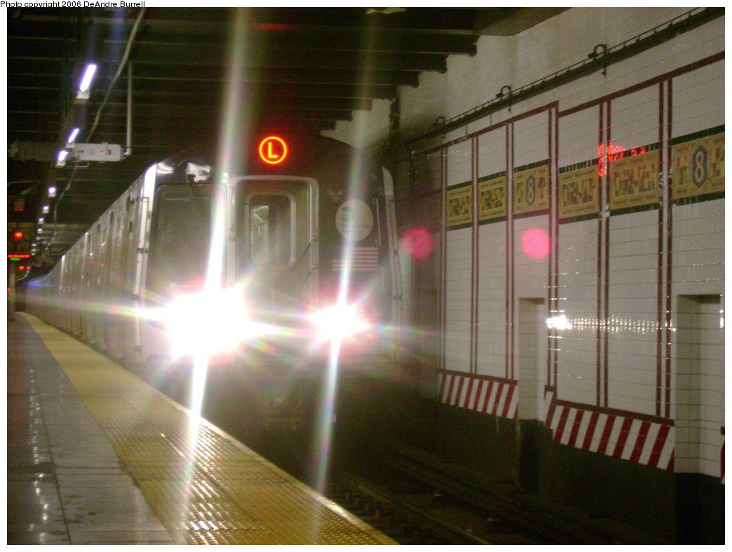 (167k, 1044x788)<br><b>Country:</b> United States<br><b>City:</b> New York<br><b>System:</b> New York City Transit<br><b>Line:</b> BMT Canarsie Line<br><b>Location:</b> 8th Avenue <br><b>Route:</b> L<br><b>Car:</b> R-143 (Kawasaki, 2001-2002)  <br><b>Photo by:</b> DeAndre Burrell<br><b>Date:</b> 12/28/2006<br><b>Viewed (this week/total):</b> 0 / 2794