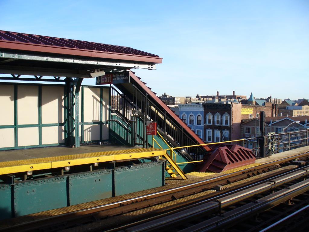 (139k, 1024x768)<br><b>Country:</b> United States<br><b>City:</b> New York<br><b>System:</b> New York City Transit<br><b>Line:</b> BMT Canarsie Line<br><b>Location:</b> Sutter Avenue <br><b>Photo by:</b> Robbie Rosenfeld<br><b>Date:</b> 12/31/2006<br><b>Notes:</b> Stairs at end of platform.<br><b>Viewed (this week/total):</b> 4 / 2173