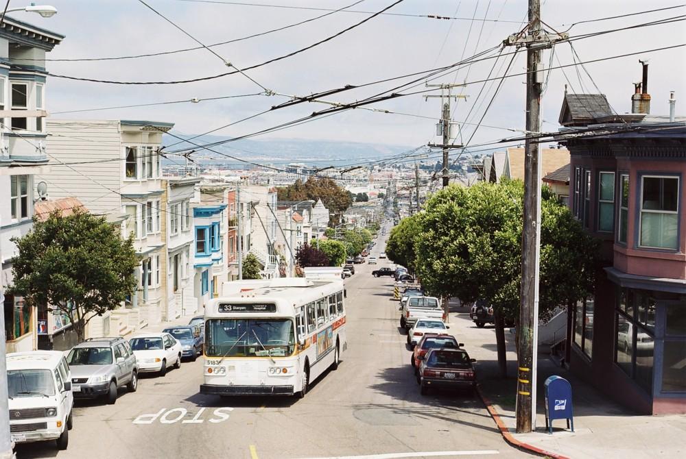 (226k, 1000x670)<br><b>Country:</b> United States<br><b>City:</b> San Francisco/Bay Area, CA<br><b>System:</b> SF MUNI<br><b>Line:</b> SF MUNI Trolley Coach Routes<br><b>Location:</b> 18th/Market<br><b>Route:</b> 33-Stanyon<br><b>Car:</b> SF MUNI Trolley Coach (Flyer E800, 1975-77) 5183 <br><b>Photo by:</b> Jean-Pierre Vergez<br><b>Date:</b> 8/2002<br><b>Viewed (this week/total):</b> 0 / 1069