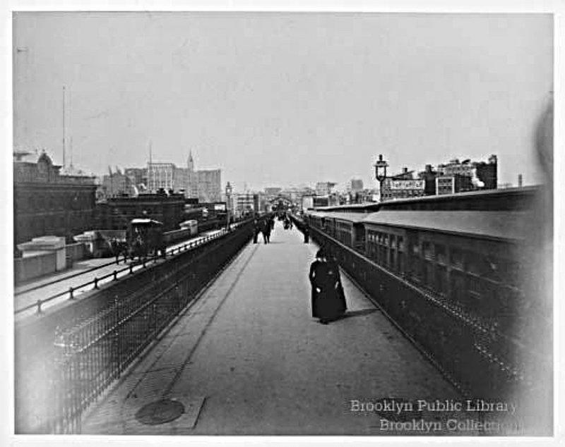 (68k, 800x634)<br><b>Country:</b> United States<br><b>City:</b> New York<br><b>System:</b> New York City Transit<br><b>Line:</b> BMT Fulton<br><b>Location:</b> Brooklyn Bridge <br><b>Collection of:</b> Brooklyn Public Library (via Herbert Maruska)<br><b>Date:</b> 1888<br><b>Notes:</b> View across the Brooklyn Bridge to Manhattan in 1888<br><b>Viewed (this week/total):</b> 0 / 1844
