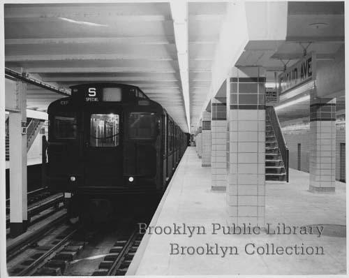 (26k, 500x398)<br><b>Country:</b> United States<br><b>City:</b> New York<br><b>System:</b> New York City Transit<br><b>Line:</b> IND Fulton Street Line<br><b>Location:</b> Euclid Avenue <br><b>Collection of:</b> Brooklyn Public Library (via Herbert Maruska)<br><b>Date:</b> 1948<br><b>Notes:</b> Newly opened Eulicd Ave. station in 1948.<br><b>Viewed (this week/total):</b> 4 / 3311