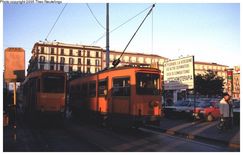 (99k, 820x526)<br><b>Country:</b> Italy<br><b>City:</b> Naples<br><b>System:</b> Napoli ATAN<br><b>Car:</b> Naples Tram 1054 <br><b>Photo by:</b> Theo Neutelings<br><b>Date:</b> 12/29/1988<br><b>Viewed (this week/total):</b> 0 / 1127