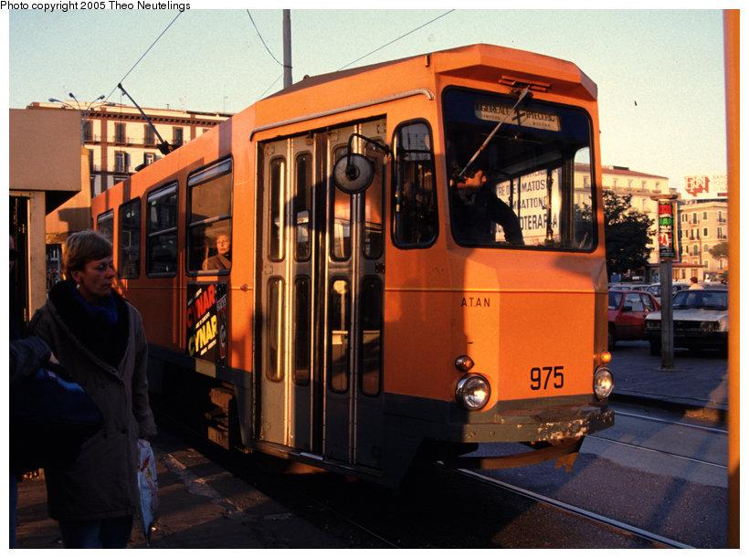 (131k, 820x611)<br><b>Country:</b> Italy<br><b>City:</b> Naples<br><b>System:</b> Napoli ATAN<br><b>Car:</b> Naples Tram 975 <br><b>Photo by:</b> Theo Neutelings<br><b>Date:</b> 12/29/1988<br><b>Viewed (this week/total):</b> 1 / 1168