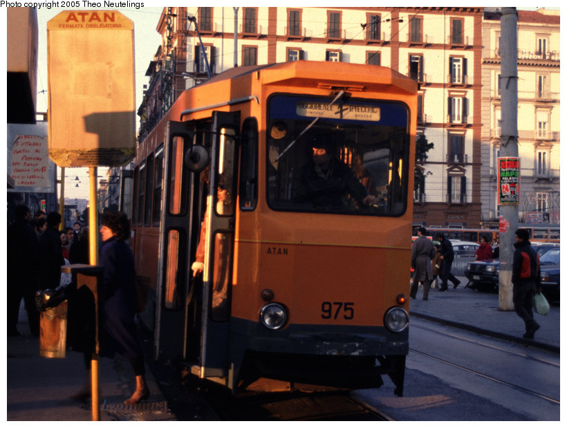 (131k, 820x619)<br><b>Country:</b> Italy<br><b>City:</b> Naples<br><b>System:</b> Napoli ATAN<br><b>Car:</b> Naples Tram 975 <br><b>Photo by:</b> Theo Neutelings<br><b>Date:</b> 12/29/1988<br><b>Viewed (this week/total):</b> 1 / 1106