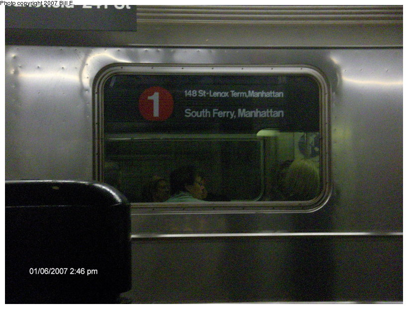 (117k, 820x622)<br><b>Country:</b> United States<br><b>City:</b> New York<br><b>System:</b> New York City Transit<br><b>Line:</b> IRT West Side Line<br><b>Location:</b> 14th Street <br><b>Route:</b> 1<br><b>Photo by:</b> Bill E.<br><b>Date:</b> 1/6/2007<br><b>Notes:</b> Roll sign of 1 train on G.O. reroute to 148th St.<br><b>Viewed (this week/total):</b> 2 / 2949