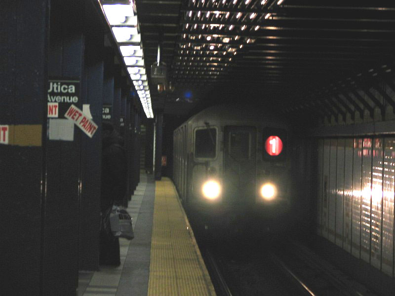(85k, 800x600)<br><b>Country:</b> United States<br><b>City:</b> New York<br><b>System:</b> New York City Transit<br><b>Line:</b> IRT Brooklyn Line<br><b>Location:</b> Utica Avenue <br><b>Route:</b> 1<br><b>Car:</b> R-62A (Bombardier, 1984-1987)   <br><b>Photo by:</b> Dante D. Angerville<br><b>Date:</b> 3/12/2005<br><b>Notes:</b> Rerouted 1 train due to South Ferry construction.<br><b>Viewed (this week/total):</b> 5 / 3763