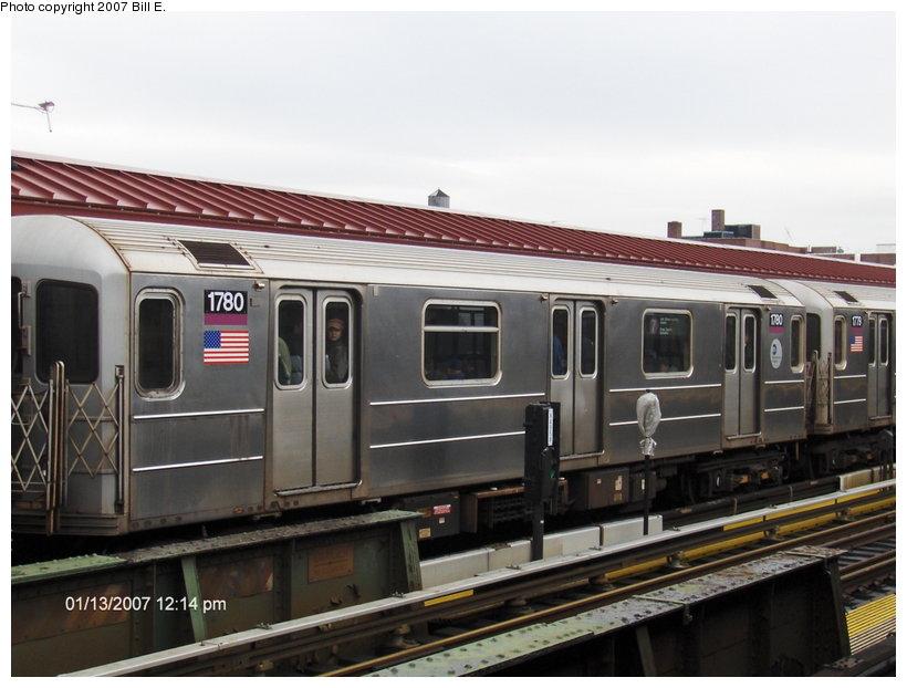 (97k, 820x622)<br><b>Country:</b> United States<br><b>City:</b> New York<br><b>System:</b> New York City Transit<br><b>Line:</b> IRT Flushing Line<br><b>Location:</b> 74th Street/Broadway <br><b>Route:</b> 7<br><b>Car:</b> R-62A (Bombardier, 1984-1987)  1780 <br><b>Photo by:</b> Bill E.<br><b>Date:</b> 1/13/2007<br><b>Viewed (this week/total):</b> 1 / 1823