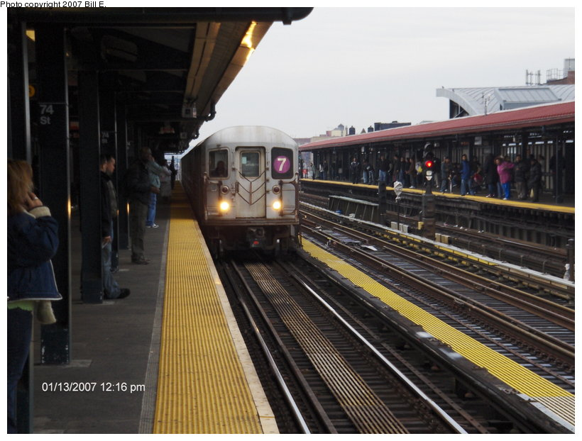 (111k, 820x622)<br><b>Country:</b> United States<br><b>City:</b> New York<br><b>System:</b> New York City Transit<br><b>Line:</b> IRT Flushing Line<br><b>Location:</b> 74th Street/Broadway <br><b>Route:</b> 7<br><b>Car:</b> R-62A (Bombardier, 1984-1987)  1755 <br><b>Photo by:</b> Bill E.<br><b>Date:</b> 1/13/2007<br><b>Viewed (this week/total):</b> 0 / 2430