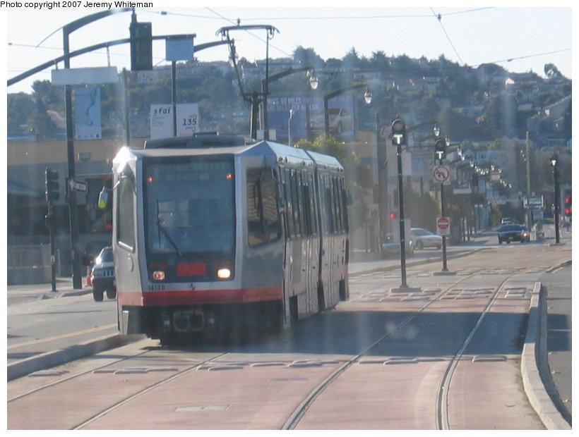 (96k, 820x620)<br><b>Country:</b> United States<br><b>City:</b> San Francisco/Bay Area, CA<br><b>System:</b> SF MUNI<br><b>Line:</b> MUNI 3rd Street Light Rail<br><b>Car:</b> SF MUNI Breda LRV  <br><b>Photo by:</b> Jeremy Whiteman<br><b>Date:</b> 1/13/2007<br><b>Notes:</b> First day of passenger service on the T-Third.<br><b>Viewed (this week/total):</b> 0 / 1502