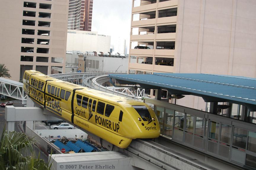 (188k, 864x574)<br><b>Country:</b> United States<br><b>City:</b> Las Vegas, NV<br><b>System:</b> Las Vegas Monorail<br><b>Location:</b> Harrah's/Imperial Palace <br><b>Car:</b>  3 <br><b>Photo by:</b> Peter Ehrlich<br><b>Date:</b> 1/12/2007<br><b>Notes:</b> Approaching/arriving Harrah's Station southbound.<br><b>Viewed (this week/total):</b> 1 / 2008