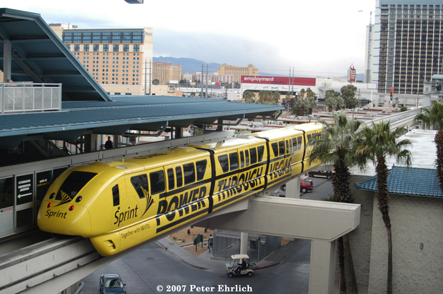 (207k, 864x574)<br><b>Country:</b> United States<br><b>City:</b> Las Vegas, NV<br><b>System:</b> Las Vegas Monorail<br><b>Location:</b> Harrah's/Imperial Palace <br><b>Car:</b>  3 <br><b>Photo by:</b> Peter Ehrlich<br><b>Date:</b> 1/12/2007<br><b>Notes:</b> Leaving Harrah's Station southbound, trailing view.<br><b>Viewed (this week/total):</b> 2 / 2325