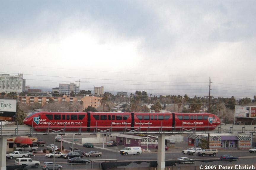 (144k, 864x574)<br><b>Country:</b> United States<br><b>City:</b> Las Vegas, NV<br><b>System:</b> Las Vegas Monorail<br><b>Location:</b> Sahara <br><b>Car:</b>  7 <br><b>Photo by:</b> Peter Ehrlich<br><b>Date:</b> 1/12/2007<br><b>Notes:</b> Pullout train north of Sahara Station.<br><b>Viewed (this week/total):</b> 1 / 2344