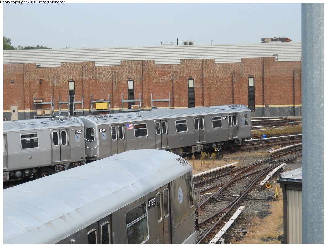 (289k, 1044x788)<br><b>Country:</b> United States<br><b>City:</b> New York<br><b>System:</b> New York City Transit<br><b>Location:</b> East New York Yard/Shops<br><b>Car:</b> R-160A-1 (Alstom, 2005-2008, 4 car sets)  8541 <br><b>Photo by:</b> Robert Mencher<br><b>Date:</b> 8/9/2010<br><b>Viewed (this week/total):</b> 0 / 702