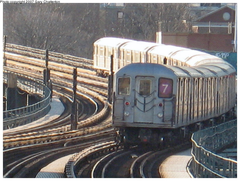 (122k, 820x620)<br><b>Country:</b> United States<br><b>City:</b> New York<br><b>System:</b> New York City Transit<br><b>Line:</b> IRT Flushing Line<br><b>Location:</b> 61st Street/Woodside <br><b>Route:</b> 7<br><b>Car:</b> R-62A (Bombardier, 1984-1987)  2078 <br><b>Photo by:</b> Gary Chatterton<br><b>Date:</b> 1/17/2007<br><b>Viewed (this week/total):</b> 0 / 2034