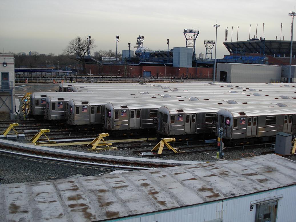(146k, 1037x778)<br><b>Country:</b> United States<br><b>City:</b> New York<br><b>System:</b> New York City Transit<br><b>Location:</b> Corona Yard<br><b>Car:</b> R-62A (Bombardier, 1984-1987)  2046-2112-2066-2073-2153-2072 <br><b>Photo by:</b> Michael Hodurski<br><b>Date:</b> 1/21/2007<br><b>Viewed (this week/total):</b> 0 / 2233