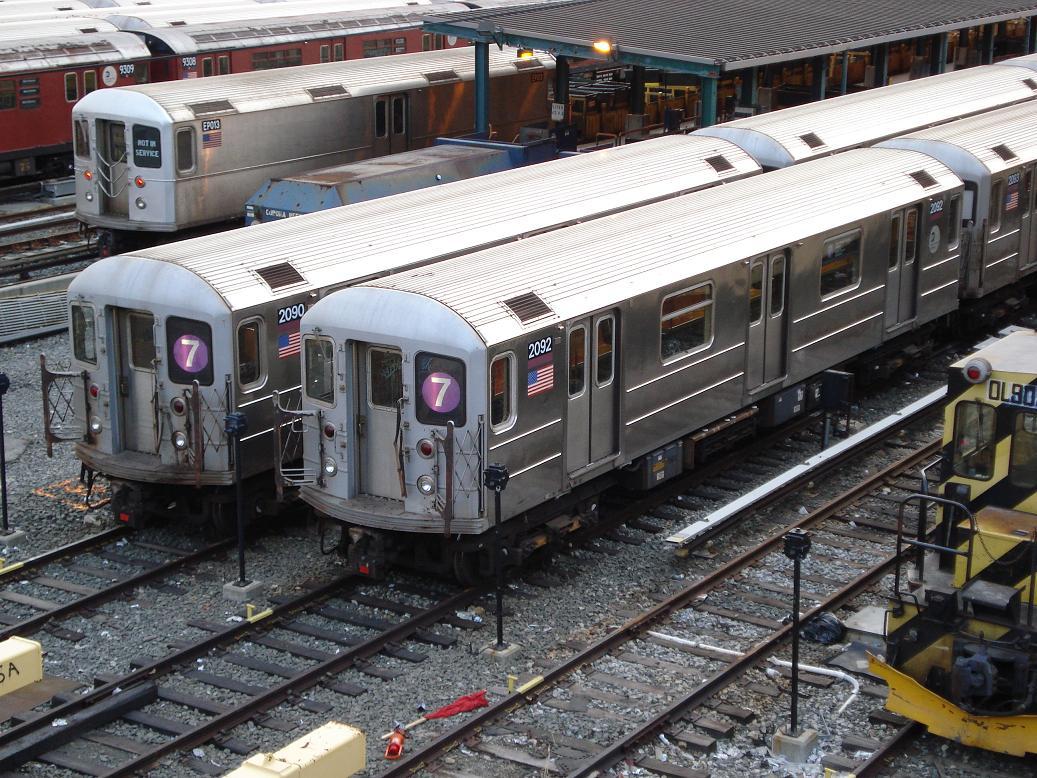 (196k, 1037x778)<br><b>Country:</b> United States<br><b>City:</b> New York<br><b>System:</b> New York City Transit<br><b>Location:</b> Corona Yard<br><b>Car:</b> R-127/R-134 (Kawasaki, 1991-1996) EP013 <br><b>Photo by:</b> Michael Hodurski<br><b>Date:</b> 1/21/2007<br><b>Notes:</b> With R62 2090-2092<br><b>Viewed (this week/total):</b> 3 / 2028