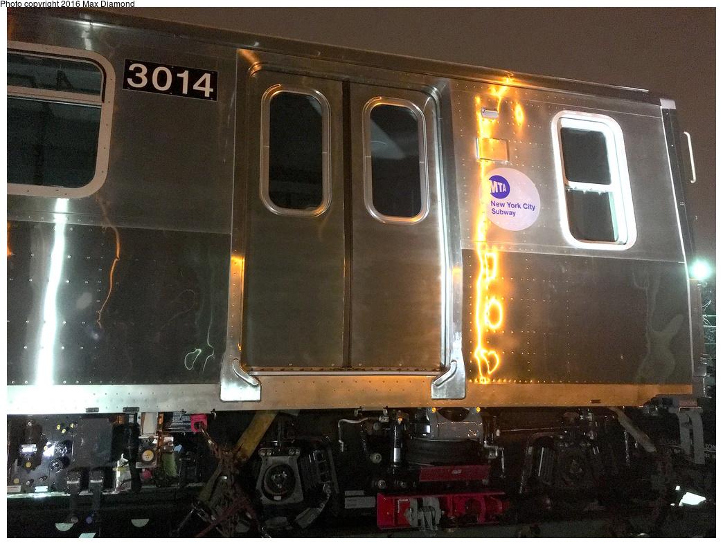 (382k, 1044x788)<br><b>Country:</b> United States<br><b>City:</b> New York<br><b>System:</b> New York City Transit<br><b>Location:</b> 207th Street Yard<br><b>Car:</b> R-179 (Bombardier, 2016-) 3014 <br><b>Photo by:</b> Max Diamond<br><b>Date:</b> 9/6/2016<br><b>Notes:</b> First R-179 delivery<br><b>Viewed (this week/total):</b> 2 / 1482