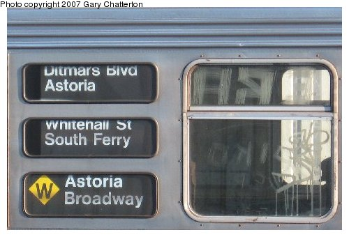 (39k, 500x340)<br><b>Country:</b> United States<br><b>City:</b> New York<br><b>System:</b> New York City Transit<br><b>Line:</b> BMT Astoria Line<br><b>Location:</b> 30th/Grand Aves. <br><b>Route:</b> W<br><b>Car:</b> R-32 (Budd, 1964)  3942 <br><b>Photo by:</b> Gary Chatterton<br><b>Date:</b> 11/21/2006<br><b>Notes:</b> Destination rollsigns.<br><b>Viewed (this week/total):</b> 0 / 4328