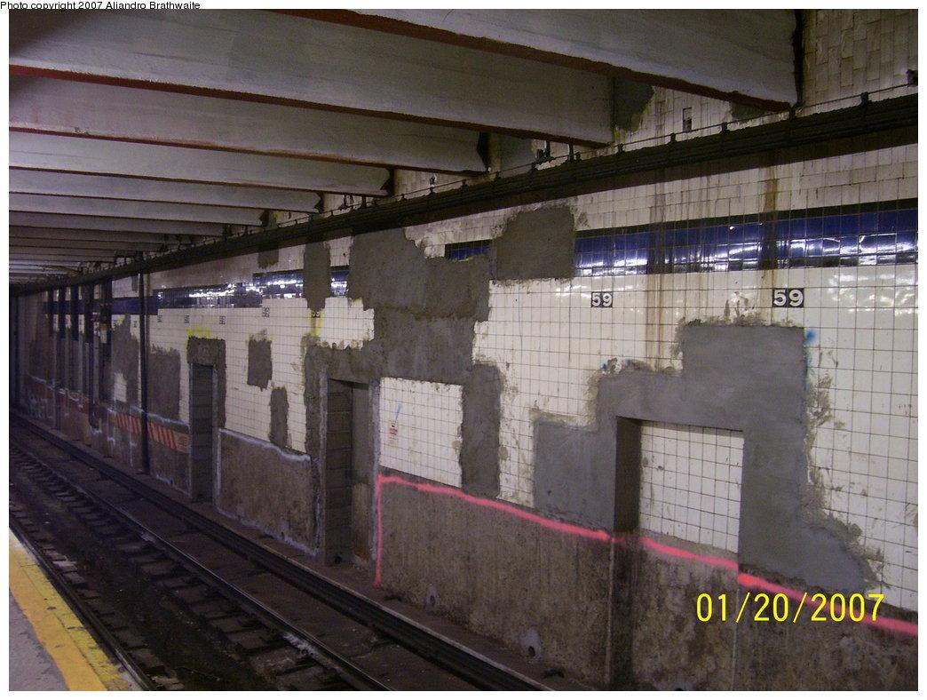 (180k, 1044x788)<br><b>Country:</b> United States<br><b>City:</b> New York<br><b>System:</b> New York City Transit<br><b>Line:</b> IND 8th Avenue Line<br><b>Location:</b> 59th Street/Columbus Circle <br><b>Photo by:</b> Aliandro Brathwaite<br><b>Date:</b> 1/20/2007<br><b>Notes:</b> Tilework prepped for renovation.<br><b>Viewed (this week/total):</b> 0 / 2401
