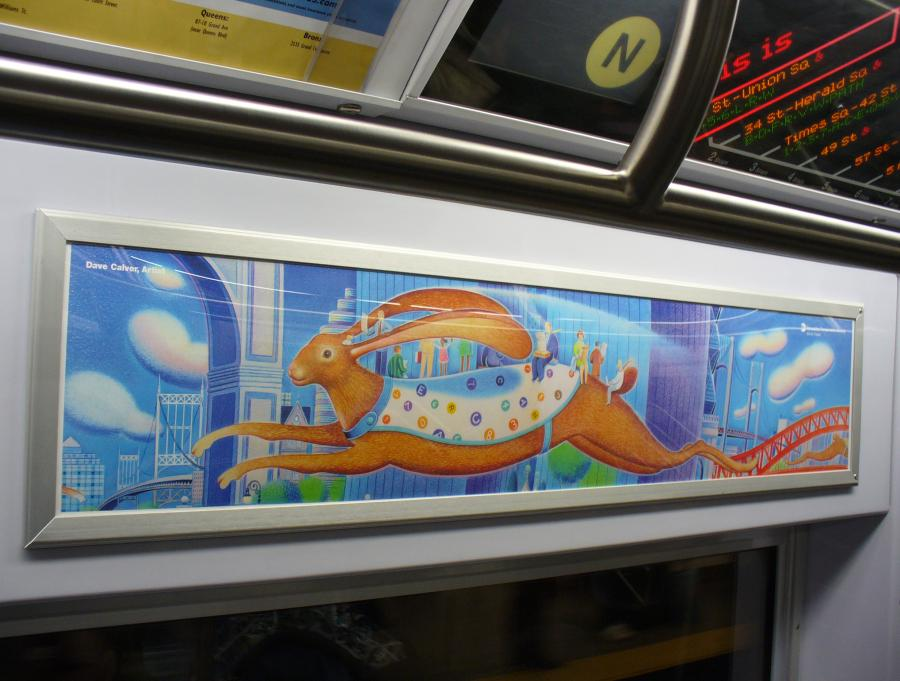 (103k, 900x681)<br><b>Country:</b> United States<br><b>City:</b> New York<br><b>System:</b> New York City Transit<br><b>Photo by:</b> Robbie Rosenfeld<br><b>Date:</b> 2/2/2007<br><b>Artwork:</b> <i>Rabbit Transit (unofficial name)</i>, Dave Calver (2006).<br><b>Viewed (this week/total):</b> 5 / 3294