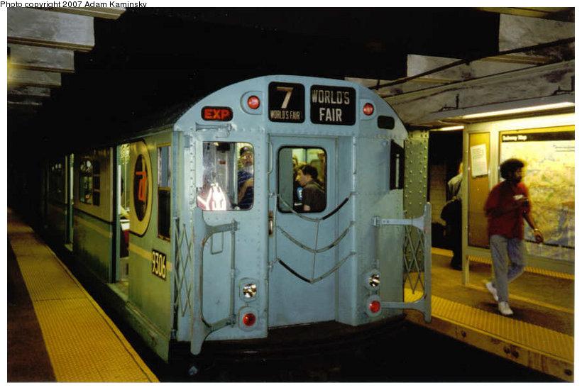 (99k, 820x550)<br><b>Country:</b> United States<br><b>City:</b> New York<br><b>System:</b> New York City Transit<br><b>Line:</b> BMT Broadway Line<br><b>Location:</b> Whitehall Street <br><b>Route:</b> Fan Trip<br><b>Car:</b> R-33 World's Fair (St. Louis, 1963-64) 9306 <br><b>Photo by:</b> Adam Kaminsky<br><b>Viewed (this week/total):</b> 4 / 2539